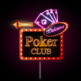Neon sign. Poker club Royalty Free Stock Photography