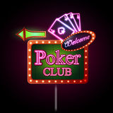 Neon sign. Poker club Stock Images