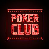 Neon sign. Poker club Royalty Free Stock Photos