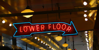Neon sign at public market stock image
