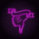 Neon sign with a purple glow. dislike. Hand gesture, shows thumb down. On a brick wall background, for your design. With ribbon. Flag for text royalty free illustration