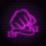 Neon sign with a purple glow. Hand gesture, clenched fist. On a brick wall background, for your design. With ribbon, flag stock illustration