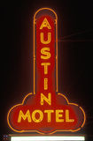 A neon sign that reads �Austin Motel� Royalty Free Stock Photo