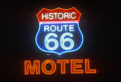 A neon sign that reads �Historic Route 66 Motel� Stock Images