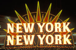 A neon sign that reads �New York, New York� at the hotel and casino in Las Vegas, Nevada royalty free stock photos