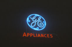 A neon sign that reads �GE Appliances� Royalty Free Stock Image