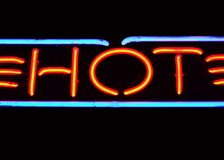 Neon Sign Reads Hot Stock Image