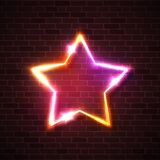 Neon sign. Realistic star background on brick wall. Neon sign. Realistic star background on dark brick texture wall. Night glowing signage with red pink yellow stock illustration