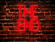 Neon Sign Red The End Stock Photo