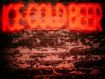 Neon Sign Red Ice Cold Beer Stock Images