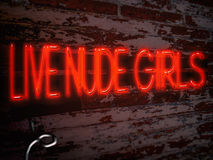 Neon Sign Red Live Nude Girls Stock Image