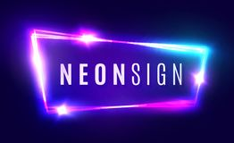 Neon Sign. Retro Light Signboard With Neon Effect. Royalty Free Stock Images