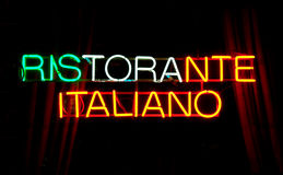 Neon sign, RISTORANTE ITALIANO Royalty Free Stock Photos