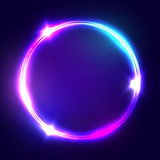 Neon sign. Round frame with glowing and light. Electric bright 3d circuit banner design on dark blue backdrop. Neon abstract circle background with flares and vector illustration