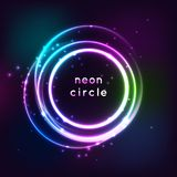 Neon sign. Round frame with glowing and light. Electric bright 3d circuit banner design on dark blue backdrop. Neon. Abstract circle background with flares and vector illustration