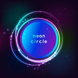Neon sign. Round frame with glowing and light. Electric bright 3d circuit banner design on dark blue backdrop. Neon. Abstract circle background with flares and Royalty Free Stock Photography