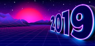 2019 neon sign for 80s styled retro New Years Eve celebration with arcade game grid landscape and purple sun. 2019 neon sign for New Years Eve celebration with vector illustration
