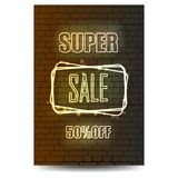 Neon sign for sale on brick wall background. Vector Royalty Free Stock Photography
