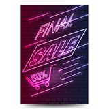 Neon sign for sale on brick wall background. Vector Stock Photo