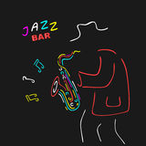 Neon Sign Saxophone Jazz Royalty Free Stock Image