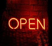 Neon sign saying Open Stock Photo
