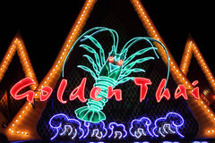 Neon sign of seafood restaurant. Stock image of neon sign of seafood restaurant Stock Photo