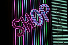 Neon sign shop Royalty Free Stock Photography