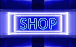 Neon sign of shop. Highly technological design of the neon sign of shop vector illustration