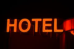 Neon sign of a small hotel. Royalty Free Stock Photography