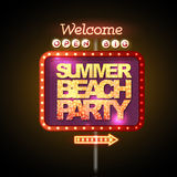 Neon sign summer beach party Royalty Free Stock Photo