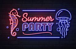 Free Neon Sign Summer Party With Sea Hourse And Jellyfish. Vintage Electric Signboard Royalty Free Stock Images - 161609539
