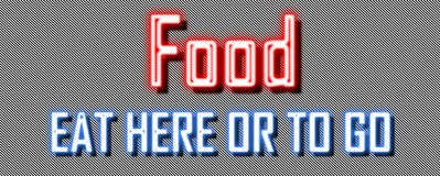Neon sign take away & x22;Food eat here or to go& x22; royalty free stock photography