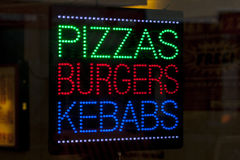 Pizzas Burgers and Kebabs stock photography