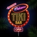 Neon sign. Tiki bar. Neon sign on black background. Tiki bar Stock Image