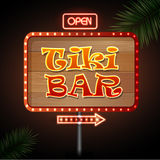 Neon sign. Tiki bar Stock Images