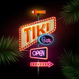 Neon sign. Tiki bar. Neon sign on black background. Tiki bar royalty free illustration