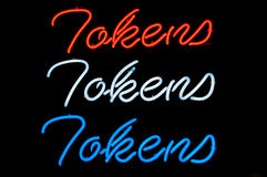 Neon sign for tokens Royalty Free Stock Photos