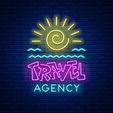 Neon sign Travel agency Stock Image