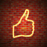 Neon sign on wall. Neon like sign hanging on brick wall. Realistic illumination. Vector illustration Stock Photography