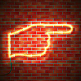 Neon sign on wall. Neon pointing finger sign hanging on brick wall. Realistic illumination. Vector illustration stock illustration