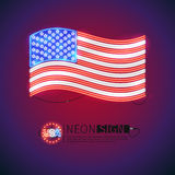 Neon Sign Waving USA Flag. Waving USA flag neon signs makes it quick and easy to customize your patriotic project. Used neon vector brushes included royalty free illustration