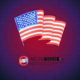 Neon Sign Wavy USA Flag. Wave USA flag neon signs makes it quick and easy to customize your patriotic project. Used neon vector brushes included Stock Images