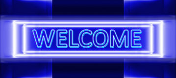 Neon sign of welcome. Highly technological design of the neon sign of welcome vector illustration
