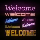 Neon sign. Welcome Royalty Free Stock Images