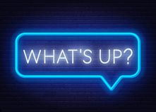 Free Neon Sign What`s Up In Speech Bubble Frame On Dark Background. Royalty Free Stock Images - 150420469