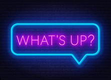 Free Neon Sign What`s Up In Speech Bubble Frame On Dark Background. Royalty Free Stock Photo - 150744565