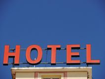 Neon Sign with the word Hotel Royalty Free Stock Photography