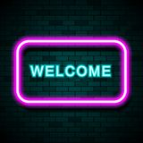 Neon sign with the word Welcome on brick wall background. Stock vector vector illustration