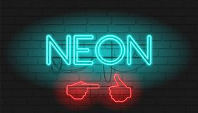 NEON signboard with Brickwall as background. Vector illustration with Neon graphic style royalty free illustration