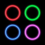 Neon signboard for design circles. Stock Image